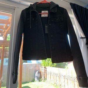 Fleece-lined black jean jacket